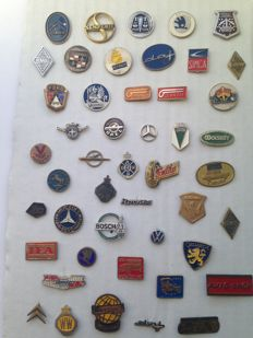 Collection of 50 automobilia pins from the sixties