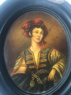 After Elisabeth Vigee LeBrun - oil on panel portrait miniature of a woman wearing a red turban - France - 19th century