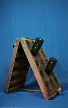Wooden wine rack from period before 1960