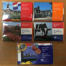 The Netherlands – Mini coin set 1998, 1999, 2000, 2001 and 2002