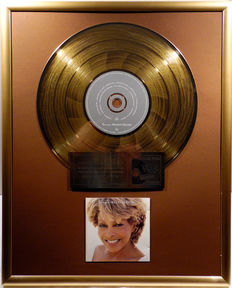 "Tina Turner - Wildest Dreams - 12"" german Parlophone gold plated record with CD and cover by WWA gold Awards"