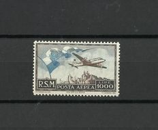 San Marino 1951- airmail - L. brown and sky blue - flag, plane and view