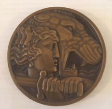 Art Deco dated 1928 Large French Bronze  Medal Battle of Nice