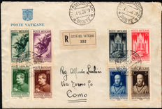 Vatican City - 1936 - Exhibition of the Catholic Press. Complete series of 8 stamps on registered mail.