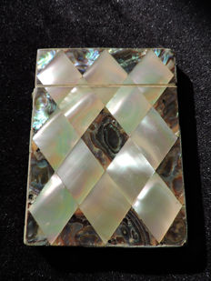 Victorian business-card holder in oyster and abalone mother-of-Pearl - ca. 1890