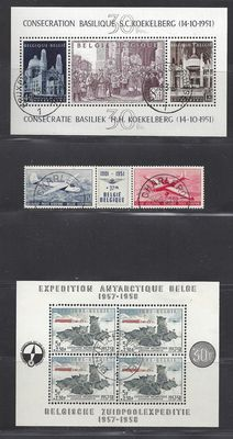 Belgium 1952/1957 - Consecration of the basilica of Koekelberg, tryptich airplanes and South Pole expedition - OBP block 30 and 31 and PA 26/27