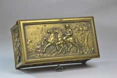 An antique bronze or copper jewelry box with rural scenes – presumably France – late 19th century