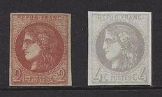 France 1870 - Cérès 2 and 4 c. - Yvert n° 40B, 41B