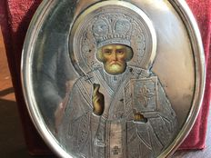 Saint Nicholas - travel icon with silver oklad marked for Erik August Kollin - Russia - at the end of the 19th century