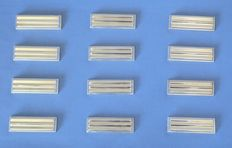 "Christofle by Luc Lanel - set of 12 silverplated Art Deco Knife Rests in pattern ""Ondulation"