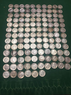 United States - 10 Cents Mercury & Roosevelt Dime 1917/1964 (lot of 126 coins) - Silver