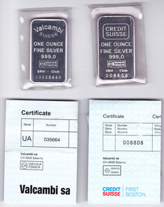 "2 silver bars of 1 troy ounce ""Valcambi"" and ""Credit Suisse""  with certificates of authenticity"