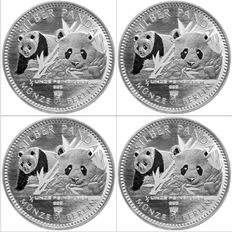 Germany - 4 piece China Panda 2016 Münze Berlin First Edition - 999 Silver