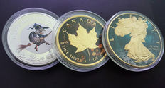 Niue, Canada, and United States – 2 dollars, 5 dollars, and 1 dollar – 2015 and 2 x 2016 – Fluorescent witch, Maple leaf and Walking Liberty, (3 Halloween-themed coins) – 1 ounce of silver