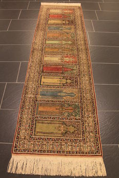 Beautiful semi antique handwoven oriental silk carpet, Kayseri carpet, silk rug, circa 1950, silk carpet rug, 70 x 250 cm