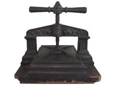 Book objects; Antique cast iron book press with pretty details - around 1800