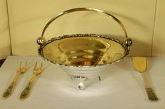 "Vintage soviet Russian silver (875/916/1000) gold gilded niello ,,Russian  silver compliment"" XX age"