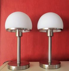 Two STAINLESS STEEL mushroom lamps with opaline glass