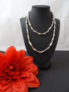 Twisted silver necklace, 925