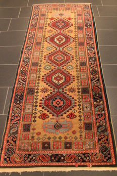 Beautiful antique Persian carpez, Kazak Kasak around 1930, made in Turkey, 95 x 240 cm