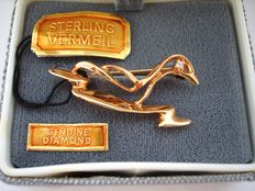 Vintage 1970s – Sterling Silver Vermeil Duck Brooch with Diamond in original Box