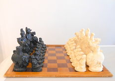 Chinese lacquered chess set