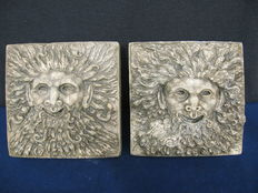 A pair of limestone reliefs depicting satyrs  - Italy, 2nd half of the 18th C