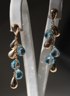 14 kt yellow gold earrings set with topaz - Size: 10 x 64 mm