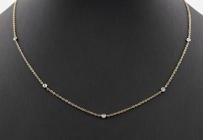 18 kt gold – Necklace/choker – Brilliant cut diamonds – Length: 44 cm (approximately)