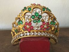 Art nouveau Mary crown - gilded copper with glass cut stones - Belgium - ca 1890/1900