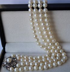 Two-row necklace see / salty Akoya pearls and 14k White gold flower clasp with small sapphires. Low reserve price.