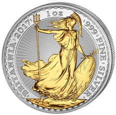 Great Britain - 2 pounds - Britannia 2017-999 silver with 24 k gold plated