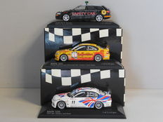 Minichamps - Scale 1/43 - Lot with 3 x car racing models : 1 x Audi RS 6 Safety Car and 2 x BMW 320i 2004