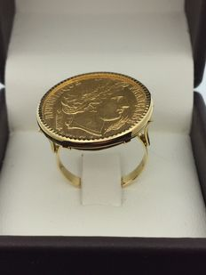Ring in 750 gold and 900 gold, Napoleon coin, size 56.