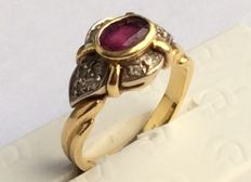 Gold ring with ruby.
