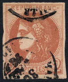 France 1870 – Cérès Bordeaux 2c brown-red signed Diena – Yvert no. 40B