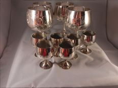 Silverplate goblets large and small