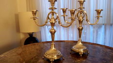 Set of silver three light candle stands, 2nd half 20th century