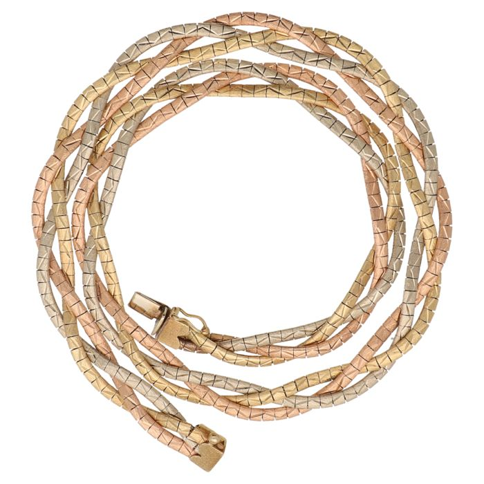 Tricolour gold braided necklace of 14 kt - Length: 42 cm