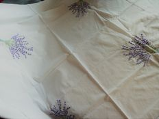 Old square tablecloth - white cotton embroidered by hand a with four large lavender bouquets patterns