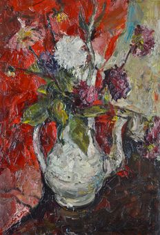 Penelope Beaton ARSA. RSW.  (1886-1963) - Still Life with a jug of flowers