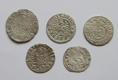 Lituania, Poland and Prussia - Lot assorted coins 16-17th century (5 different) - silver