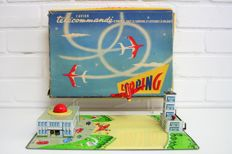 "Joustra, France - Dimensions 24 x 36 cm - Tin ""Looping"" Airport with a clockwork motor, Period: 1950's -1960's"