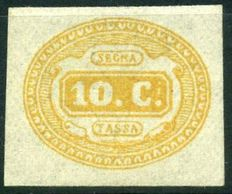 Postage stamp - 1863 - Kigdom of Italy: Orange, 10 Cents - No. 1b.