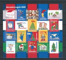The Netherlands 1999 - December stamps, completely imperforated sheet - NVPH V1856-1875v