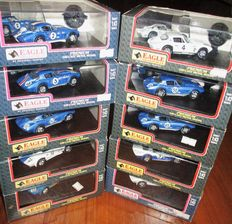 """Eagle Collectibles - Scale 1/43 - Lot with 10 model cars: 10 x  Chevrolet Corvette """"Grand Sport"""" Racing 1963/1966"""