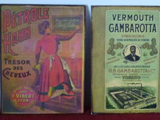 "A lot consisting of 2 advertising plates - no.1:""Pétrole Hahn"" - 1910 - no.2: ""Vermouth Gambarotta"" - 1832"