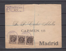 Fernado Poo 1900 – Registered letter to Madrid with 3 stamps of 50 cents, on 20 cents, brown colour.
