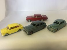 Dinky Toys-France - Scale 1/43 - Lot with Fiat 850 No.509, Peugeot 203 No.24r, Ford Vedette No.24q and Opel Admiral No.513