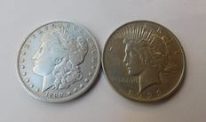 United States - 1 Dollar, 1890-O & 1923 (lot of 2 coins) - Silver